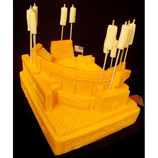 Great American Ball Park carved out of cheese