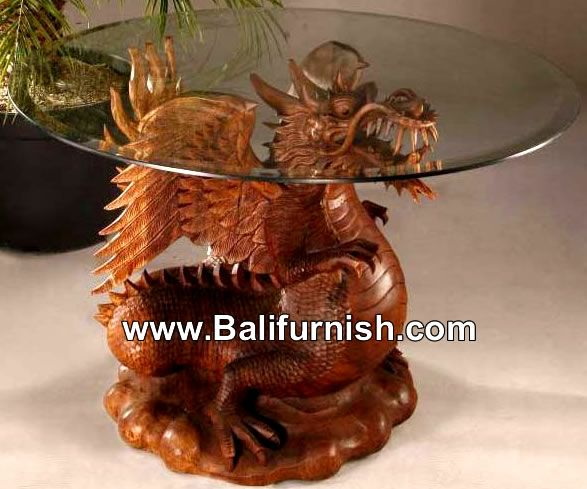 Glass top table wood dragon carvings balinese wood carvings