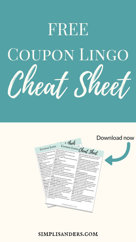 Coupon Lingo Cheat Sheet Simpli Sanders Pinterest Coupons