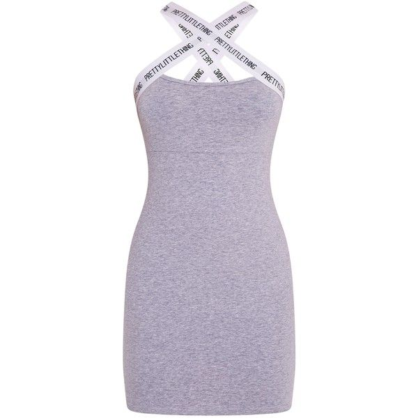 9d4ca84c71d15 PrettyLittleThing Grey Cross Detail Bodycon Dress ($31) ❤ liked on Polyvore  featuring dresses, gray bodycon dress, body con dresses, grey bodycon dress,  ...