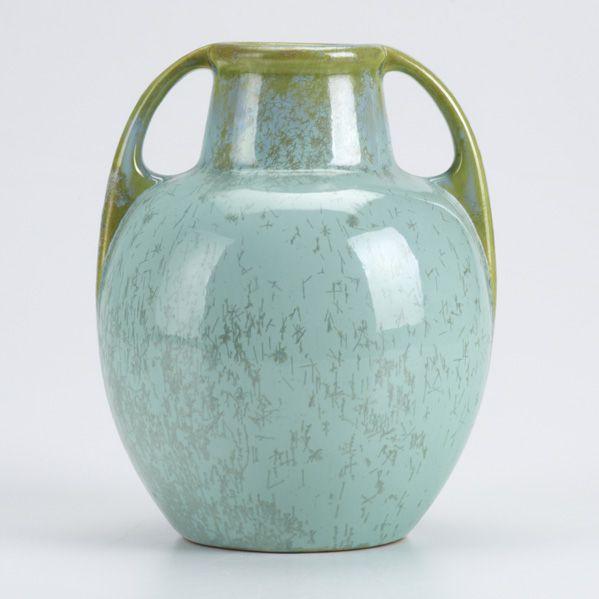 FULPER  Double-handled vase in turquoise crystalline. c.1930
