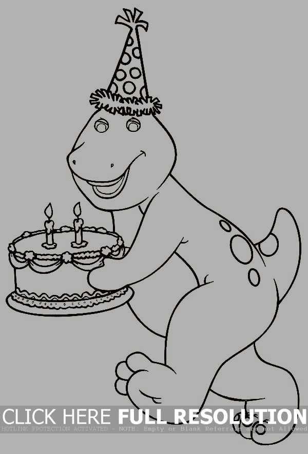 Barney Bringing A Birthday Cake Coloring Picture For Kids Barney Birthday Barney Birthday Party Barney Birthday Cake