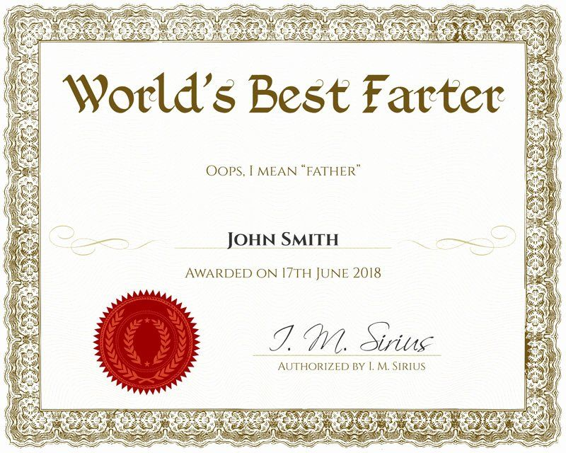 Father Of The Year Certificates Unique Homemade Fathers Day Gifts Crafts To Make Funny Certificates Awards Certificates Template Certificate Templates