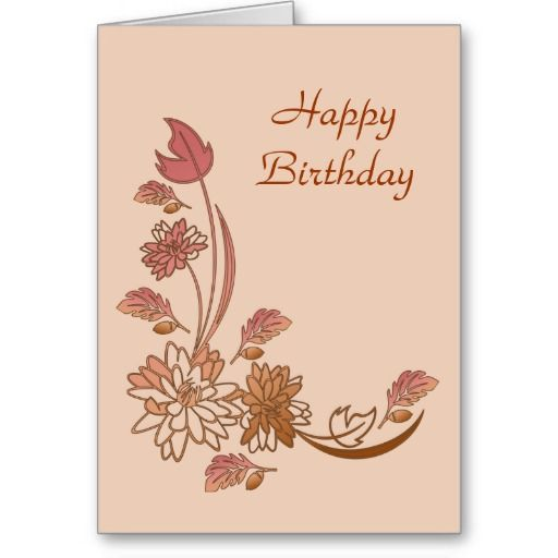 Autumn Flowers Happy Birthday Card Template Birthday card - birthday card template