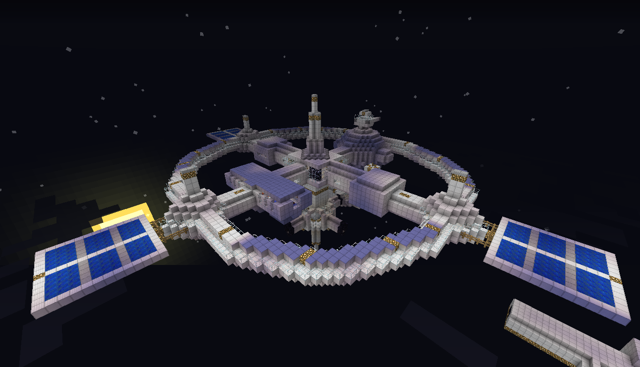 Minecraft Spacestation Voxel Low Poly Space Station With Solar Panels Minecraft Minecraft Construction How To Play Minecraft