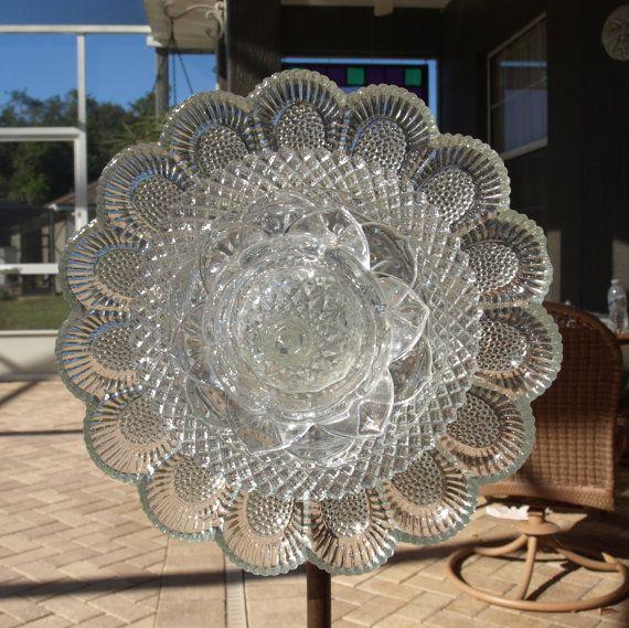Federal Petal Deviled Egg Plate Crystal Depression Glass Plate Flower Repurposed Garden Art