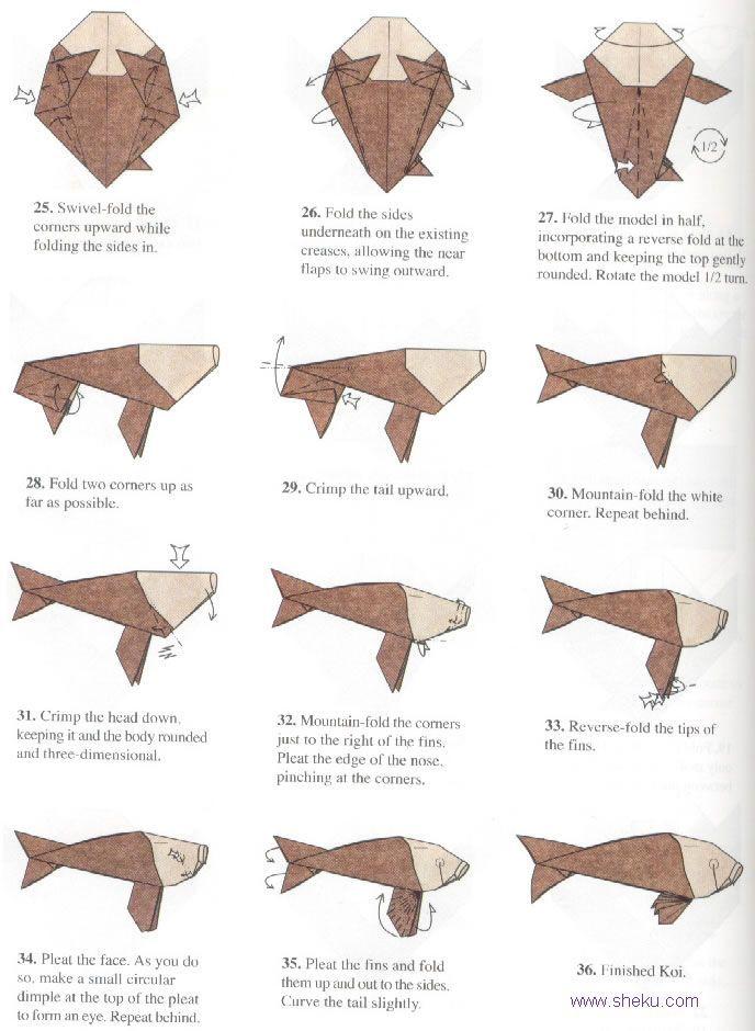 tutorial origami carpe koi