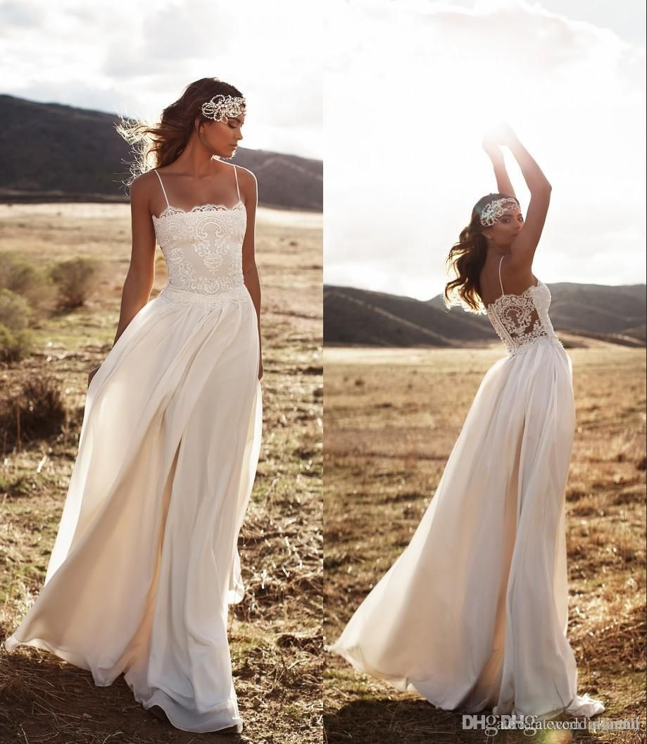 Vintage beach lace bohemian wedding dresses backless spaghetti