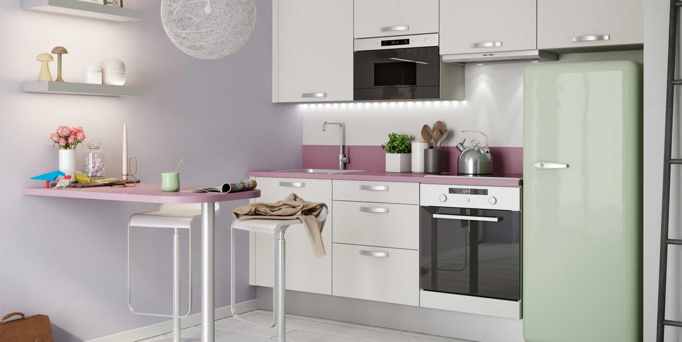 cuisine prima blanc d 39 hygena et couleurs pastel ambiance d licieusement f minine garantie. Black Bedroom Furniture Sets. Home Design Ideas