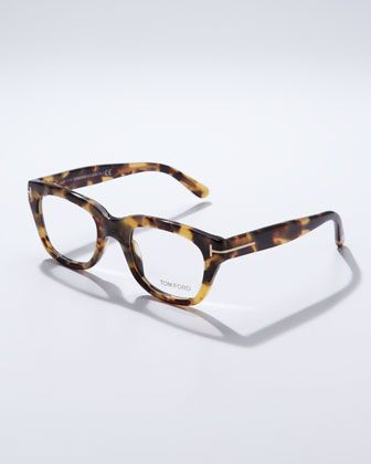 Large Havana Fashion Glasses, Tortoise by Tom Ford at Neiman Marcus.