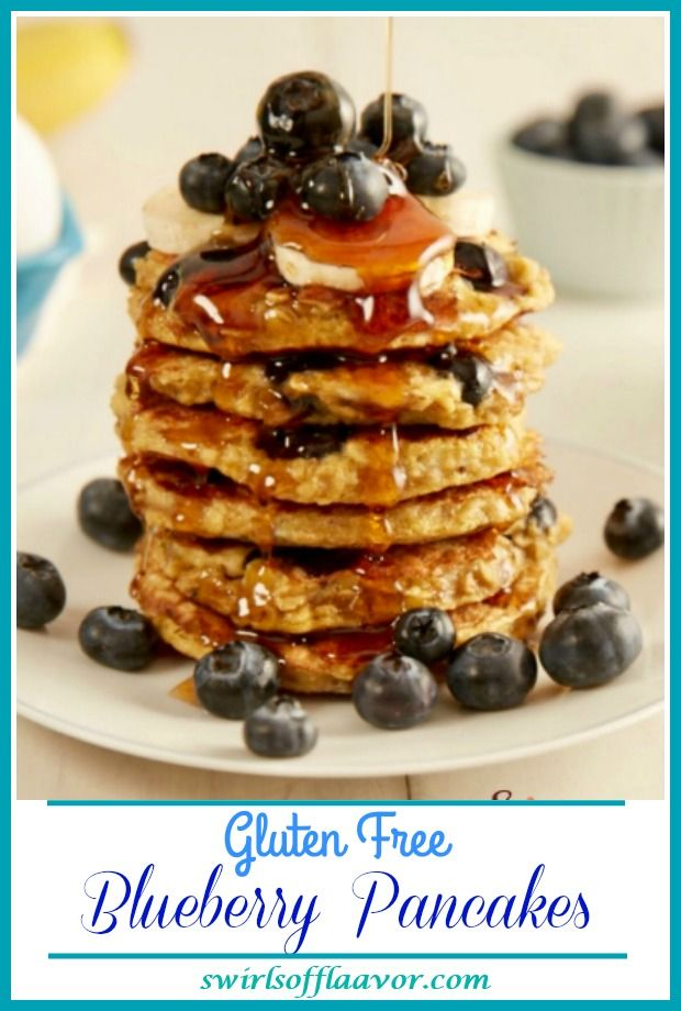 Gluten-Free Blueberry Pancakes With just four ingredients, you'll happily be making our homemade Gluten Free Blueberry Pancakes over and over again for breakfast. An added bonus is that this recipe can also be doubled to make a bigger batch of healthy gluten free pancakes with oats to feed a crowd! easyrecipe