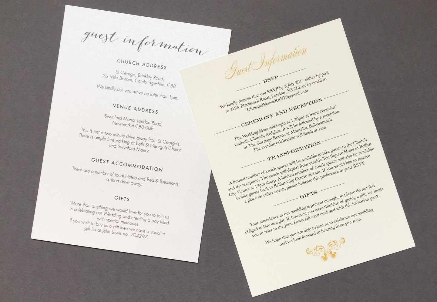 Wedding Guest Information Cards What to Include