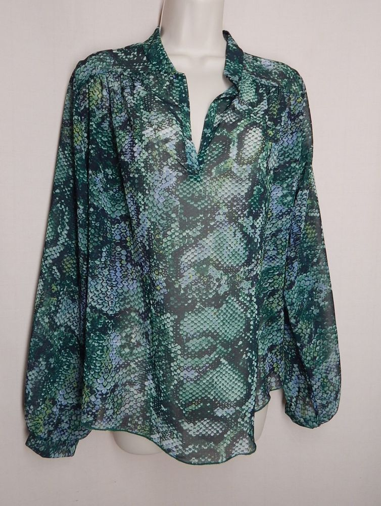 9f1b5c9f98d45 SWEET PEA Size S Green Animal Print V Neck Long Sleeve Sheer Blouse Top  Shirt  SweetPea  Blouse