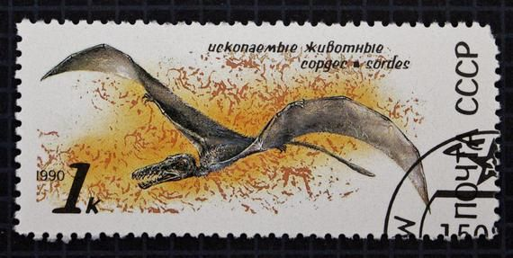 1990 Prehistoric Animals Postage Stamp Set // Soviet Union Used Cancelled Post Stamps // USSR // Dinosaurs // Pterosaur // Extinct Animals #prehistoricanimals