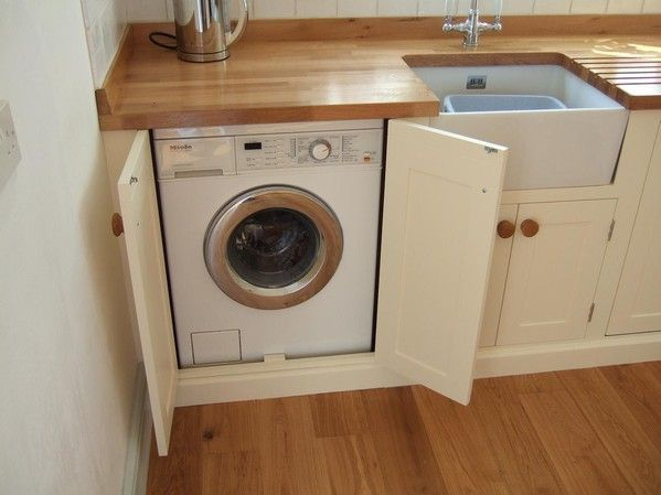 Tiny House Washing Machine Installed In The Kitchen Covered By