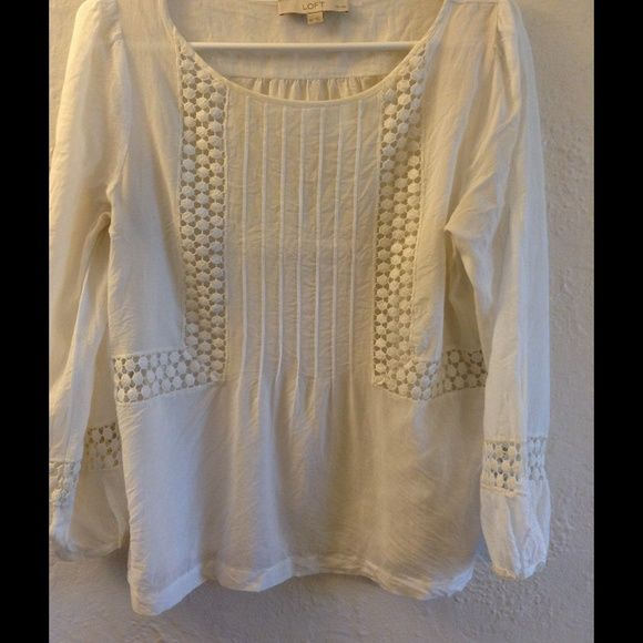 Boho Blouse Off-white boho blouse wit beautiful embroidery details on front and down the sleeve.  Sheer. Blouson sleeve fit with button on the wrist.  NO TRADES PLEASE. Please ask all questions prior to making an offer. LOFT Tops Blouses