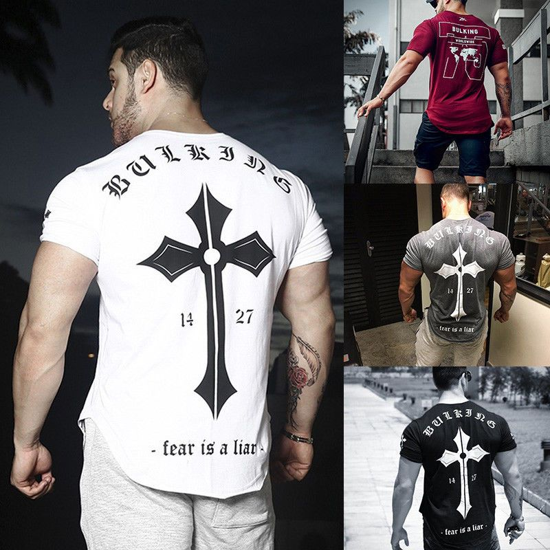 NEW Men/'s Gym Muscle Bodybuilding Cotton Sport Fit Fitness Casual T-shirt Tee