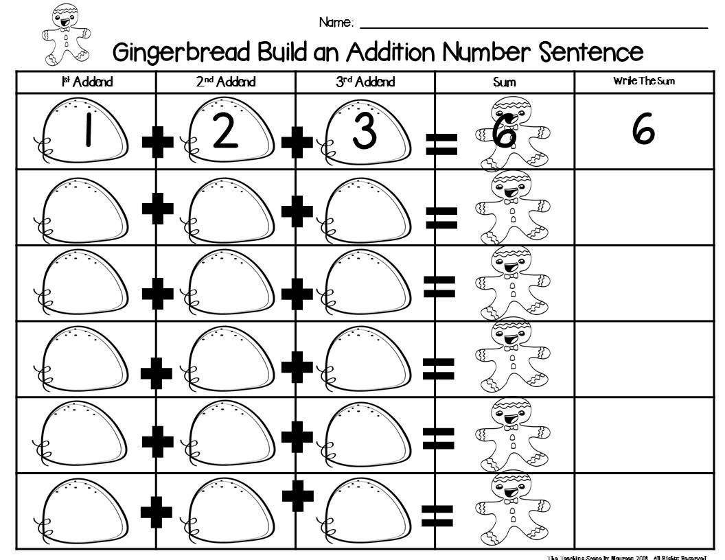 Gingerbread Build 3 Addend Addition Amp Subtraction Number