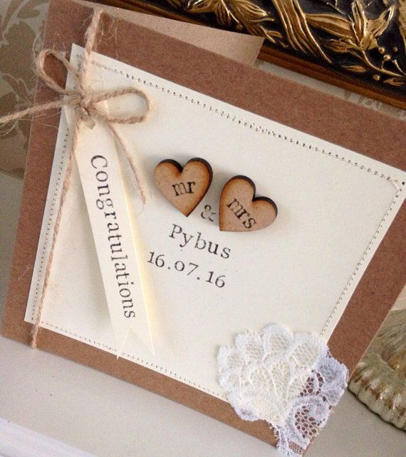Wedding Cards Ideas To Make: Personalised Wedding Card, Rustic, Shabby Chic, Lace, Mr