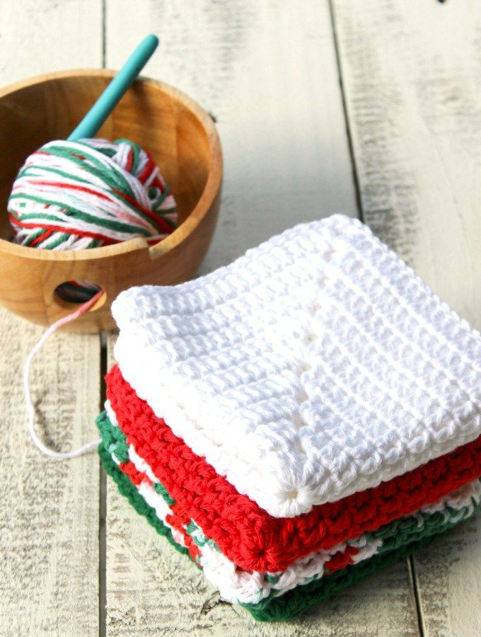 Christmas Granny Square Dish Cloths - Free Crochet Pattern | Pinterest