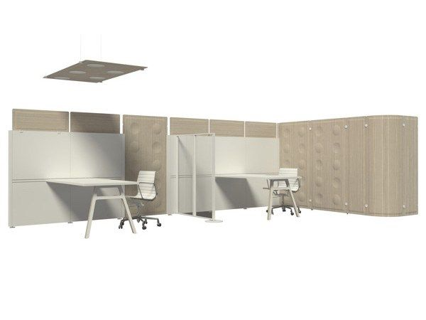 SOUND ABSORBING FREE STANDING MOBILE WOODEN WORKSTATION SCREEN TRÈS COLLECTION BY MASCAGNI | DESIGN ANTONIO MUGNOZ