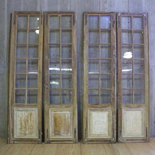 Set Of Four Antique Whitewashed Oak Room Divider French Doors With Original Hardware Sold R T Facts 860 927 1700 Puertas Vidrieras Puertas Vidrieras