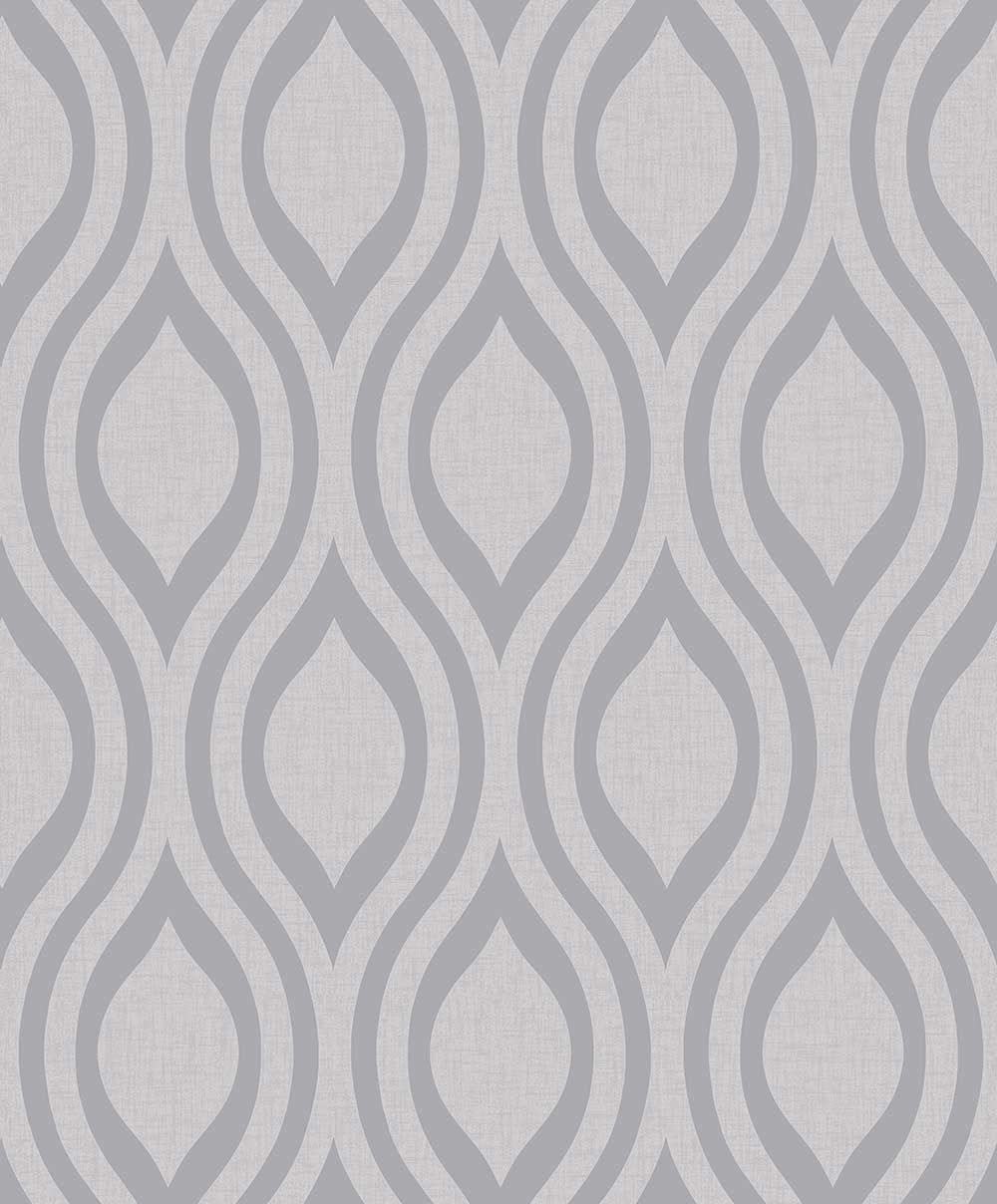Luxe Ogee By Arthouse Silver Wallpaper 910204 Silver