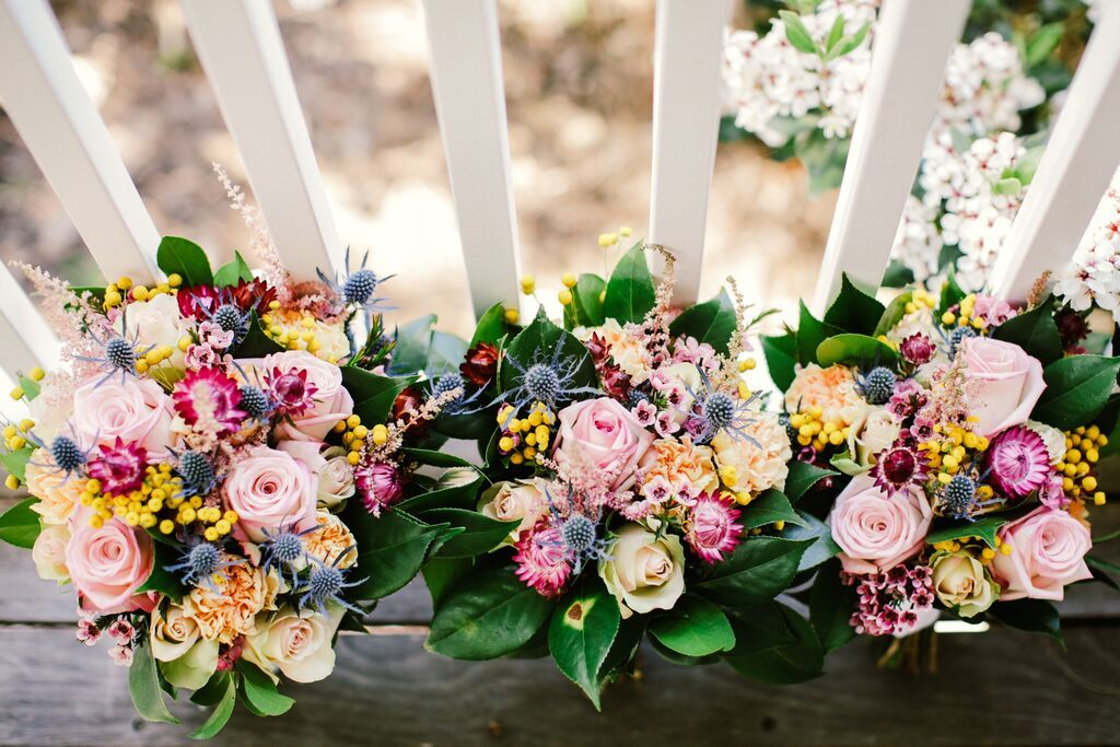 Colourful bridal bouquets by  Lola Mai Floral Styling // Photos by Lara Hotz Photography