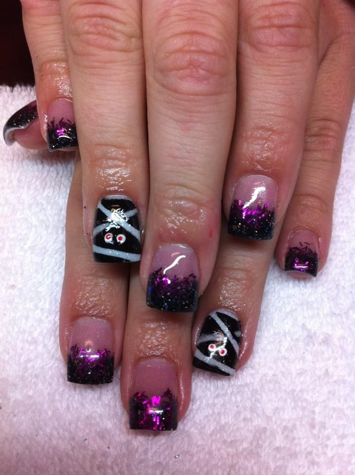 Mummy, Halloween, acrylic nail art | Halloween nails ...