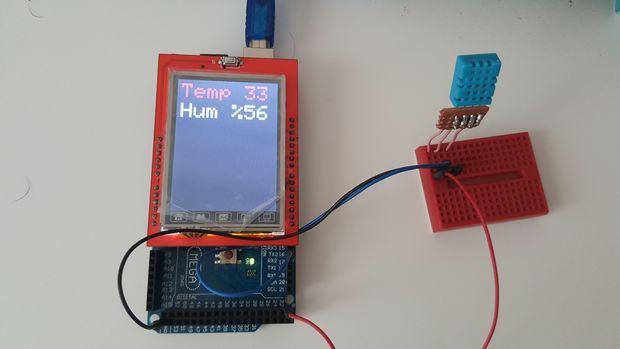 Arduino Mega + 2 4 TFT LCD Shield + DHT11 Temperature and