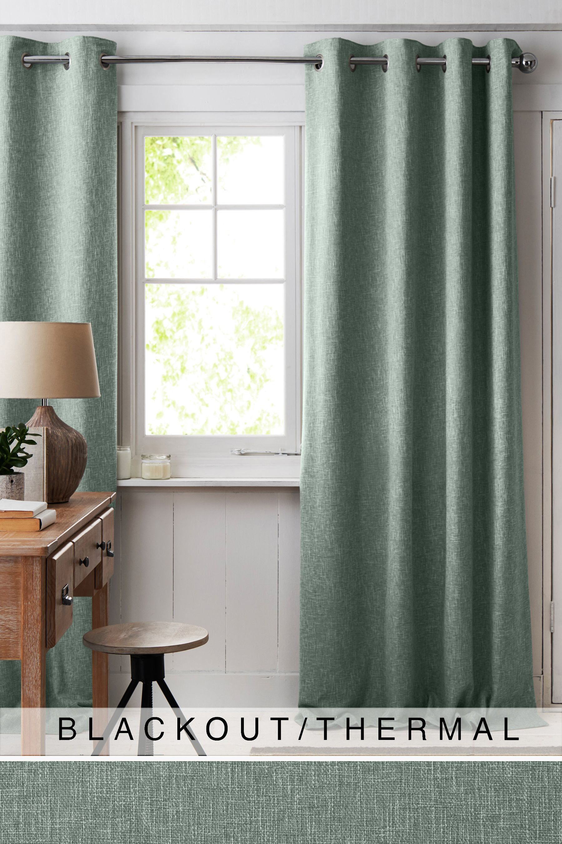 Next Boucle Eyelet Blackout Thermal Curtains Teal Thermal