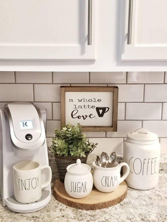 Photo of A whole latte love. Coffee Sign. Coffee bar sign. Kitchen decor. Rustic sign. …