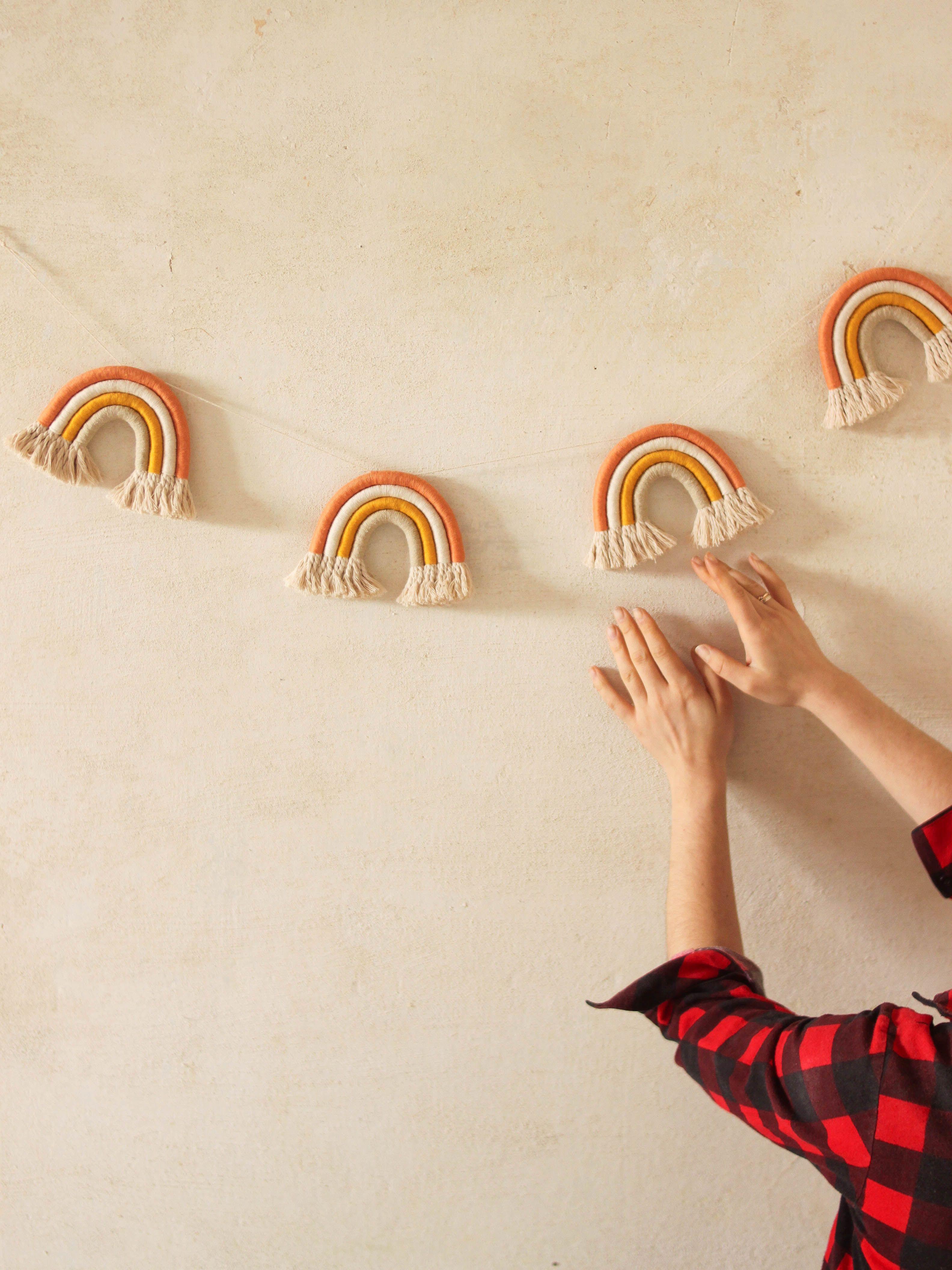 Terracotta Macrame Rainbow Garland Wall Hanging Fiber Rainbow Nursery Wall Decor In 2020 Nursery Wall Decor Diy Baby Stuff Diy Crafts To Sell