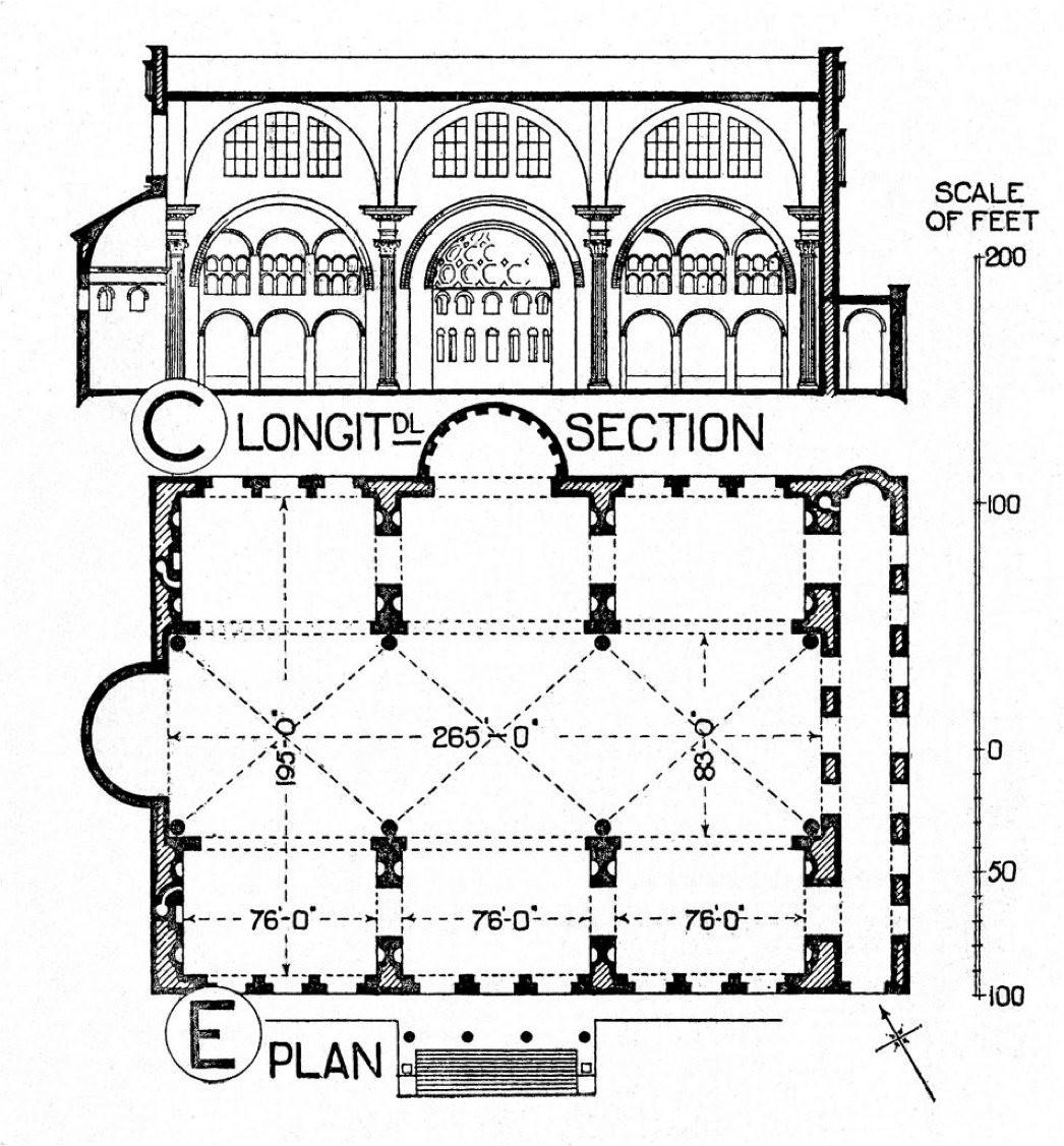 EARLY CHRISTIAN ARCHITECTURE- restored drawing of Basilica of Constantine, Rome, AD 312 The Roman basilica was the basis of the major Chriatian churches. Basilica