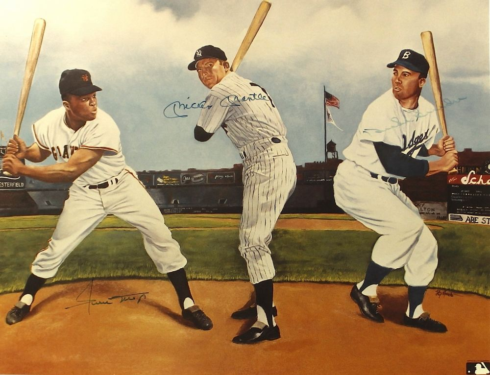 "Mickey Mantle, Willie Mays & Duke Snider Signed 19"" x 14.5"" ""New ..."