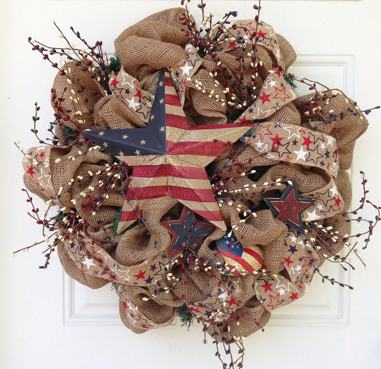 Burlap+Patriotic+Wreath+by+ViennaSparkleWreaths+on+Etsy,+$125.00 ...