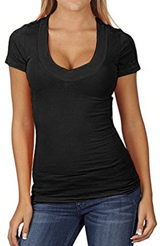 d16974d004521 PaPaPa SEXY Basic Low Cut Deep Cleavage V-Neck Stretch Top Tee Shirt  (Small