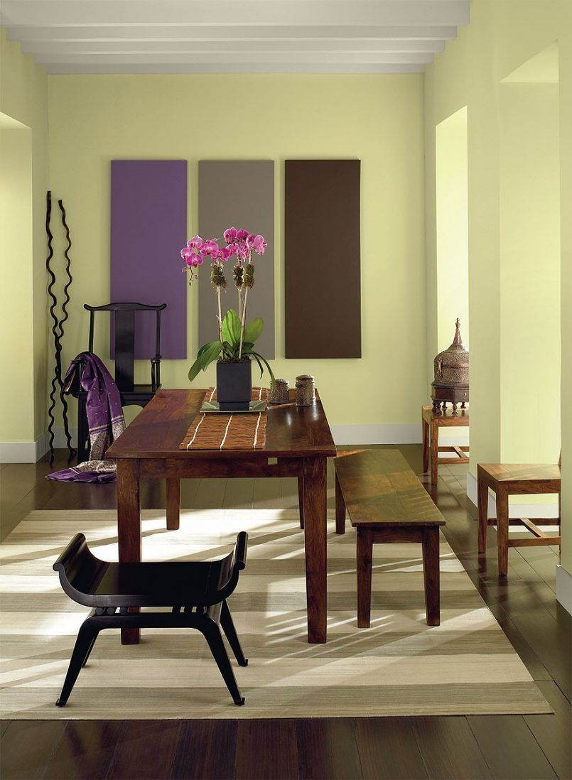 Purple black dining room - Dining Room Wooden Dining Table Bench Black Stool Cream Carpet Flower Pot Pink Orchid Wall Decoration