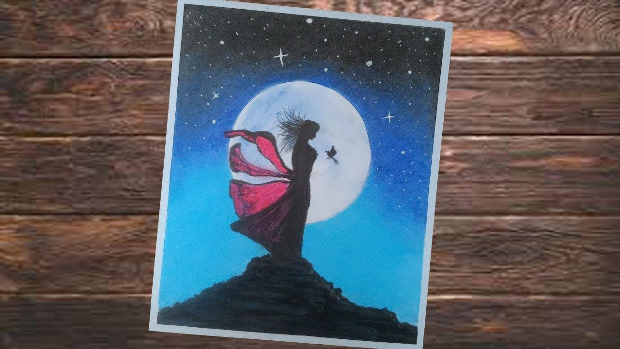 Pemandangan Malam Seorang Gadis Dibukit Dan Moonligt Gambar