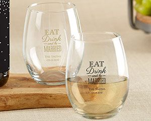 Personalized Wedding 9 oz. Stemless Wine Glass (White or Kraft Gift ...