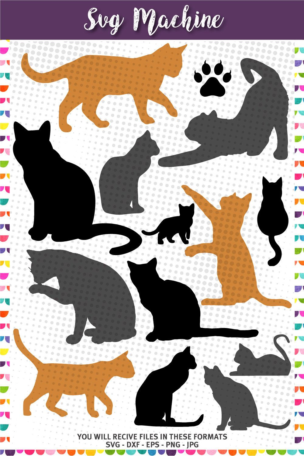 Cat Silhouettes, Cat svg Kittens Silhouettes in 2020