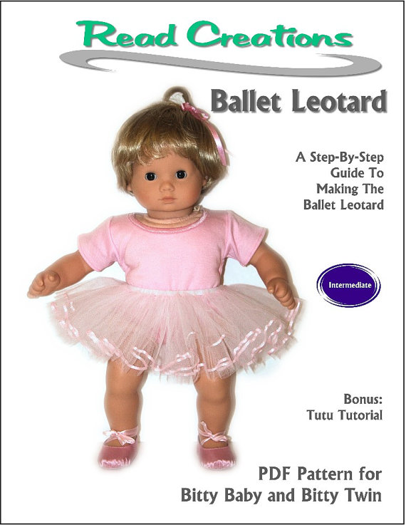 """Pink Leotard Ballet Tutu Set for American Girl 18/"""" /& Bitty Baby 15/"""" Doll Clothes"""