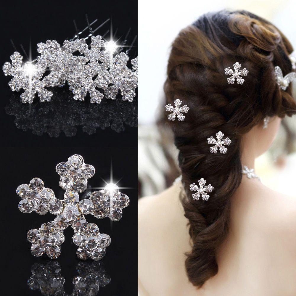 exquisite snowflake hair pins wedding prom bridal crystal rhinestone