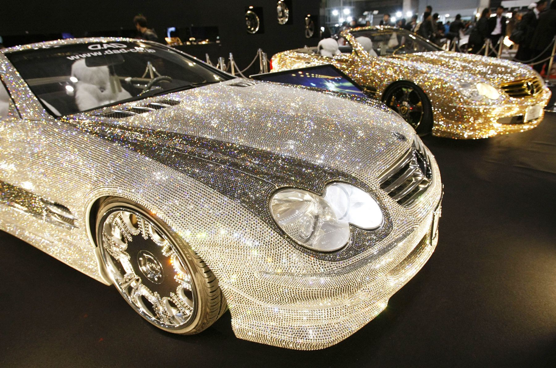 Customized Mercedes Benz Studded With Swarovski Crystal Glass, Are  Displayed At The Pavilion Of Custom Car Accessory Company Garson/D.D At  Tokyo Auto Salon ...