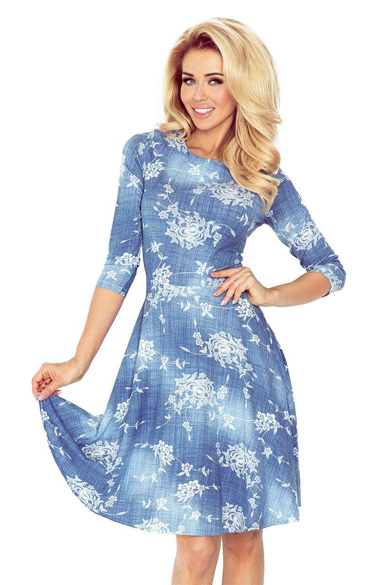 Rozkloszowana Sukienka Z Rekawkiem 3 4 Kwiaty Jeans Klasyczna Sukienka Delikatnie Rozkloszowana O Przykuwajacym Wzrok W Dresses Flare Dress Long Sleeve Dress