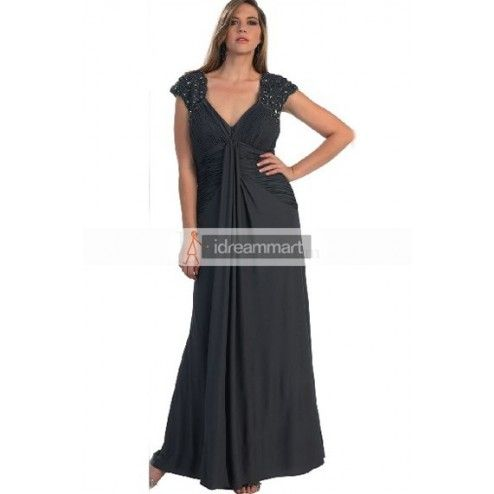 Elegant Black Chiffon Plus Size Mother Of The Bride Dress With