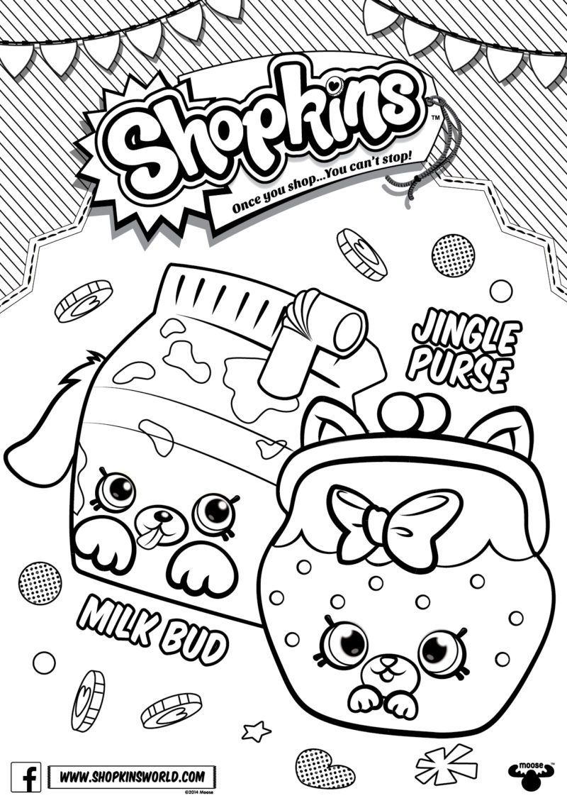Shopkins Coloring Pages Season 4 Petkins Jingle Purse Milk