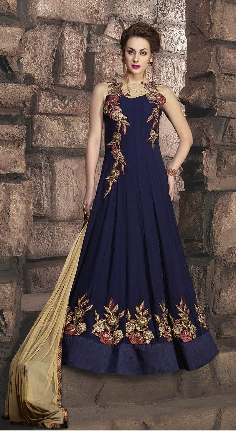 3ed54715c4c Party Wear Readymade Blue Pure Georgette Gown - 16876 in 2019 ...