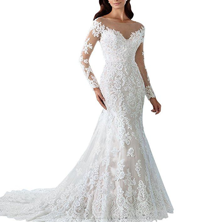 b8a8461aee073 Kevins Bridal Vintage 2017 Lace Mermaid Wedding Dress With Long Sleeves  Bridal Gowns