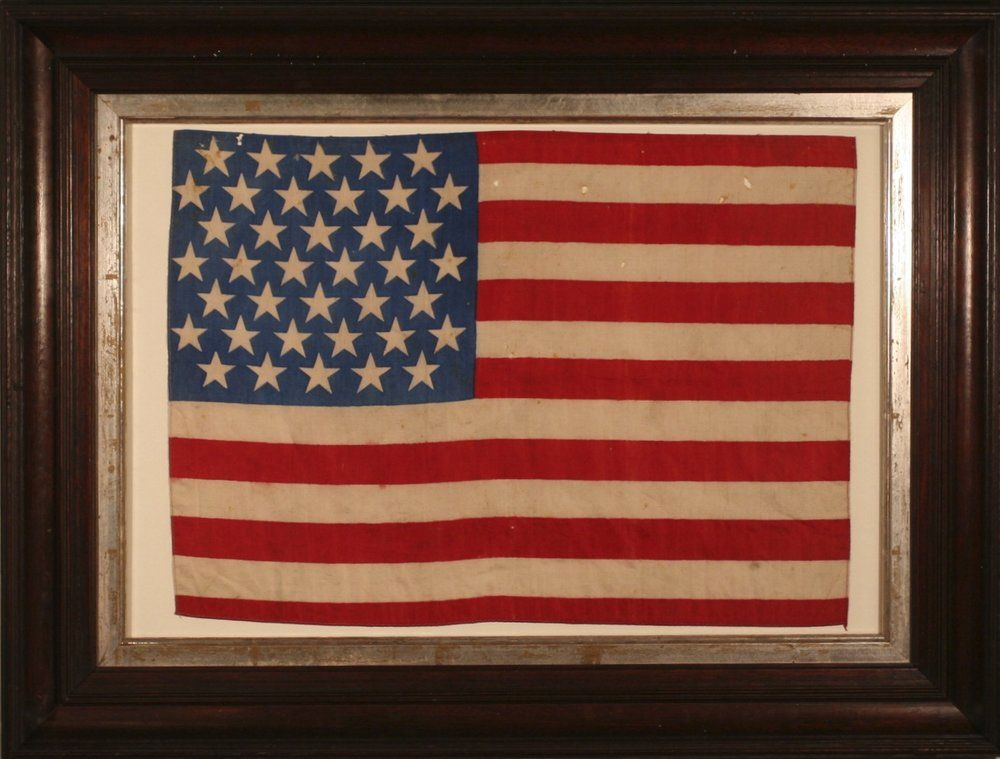 38 Star Flag Ca 1877 Ca 1877 Colorado Statehood Flag 12 1 2 X 17 1 2 Frame 19 1 2 X 25 3 4 A Rare Small Size Si Southern Art American Antiques Flag